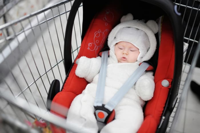 how to put car seat in shopping cart